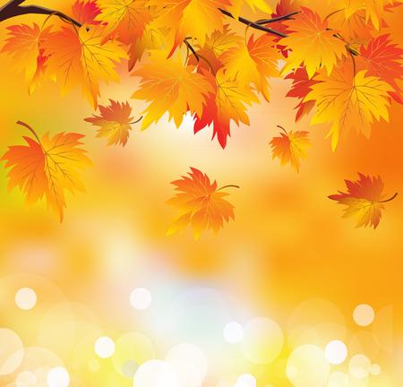 Illustration pour Abstract autumn background. Autumn leaves in yellow orange colors. Golden autumn. - image libre de droit