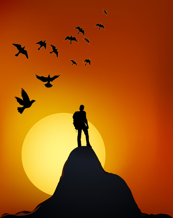 Illustration pour Climber on top of the mountain. Man on the rock. Journey to the top of the cliff. - image libre de droit
