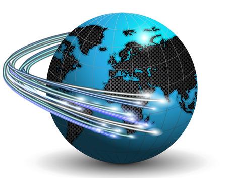 Illustration pour Optical fibers around the Earth, vector art illustration. - image libre de droit