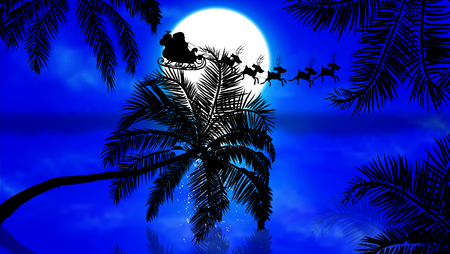Illustration for Santa Claus flying by the palms at sunset, vector art illustration. - Royalty Free Image