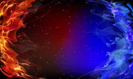 Ilustración de Abstract red and blue fire background art illustration. - Imagen libre de derechos