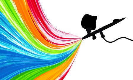 Illustration pour Spray gun with paint, vector art illustration. - image libre de droit