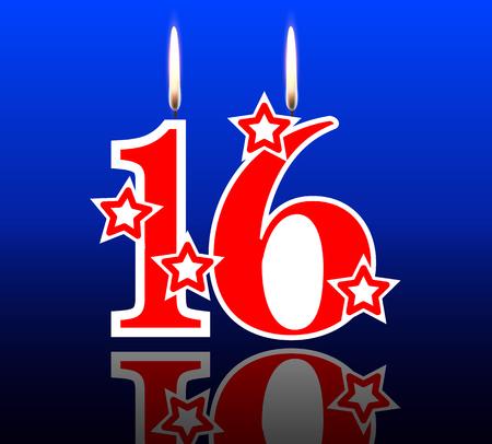 Ilustración de 16 out birthday candles, vector art illustration. - Imagen libre de derechos