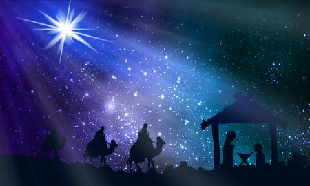 Ilustración de Jesus Mary and Joseph on Christmas Night, vector art illustration. - Imagen libre de derechos
