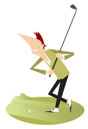 Smiling golfer illustration isolated. Smiling golfer aiming to do a good kick