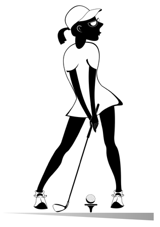 Golfer woman on the golf course isolated illustration. Golfer woman aiming to do a good kick black on white