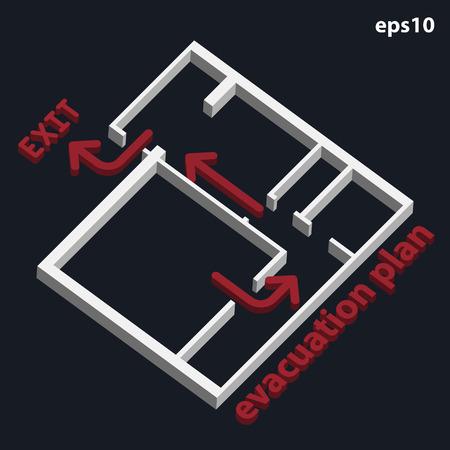 Illustration pour 3D evacuation plan building - image libre de droit
