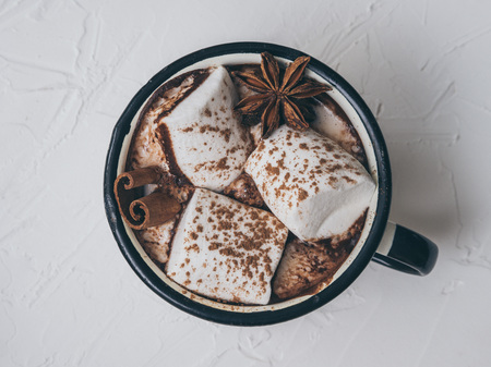 Photo for Hot chocolate with marshmallows on white background. Flat lay. Top view. Copy space. - Royalty Free Image