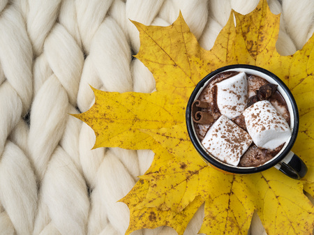 Photo for Cozy composition, hot chocolate with marshmallows, merino wool blanket, warm and comfortable atmosphere. Knit background. Flat lay. Top view. Copy space. Autumn concept. - Royalty Free Image