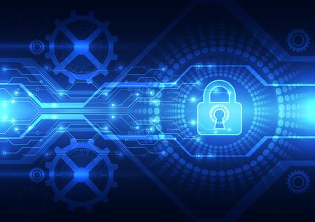 Ilustración de Abstract technology security on global network background, vector illustration - Imagen libre de derechos