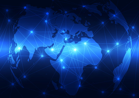 Ilustración de abstract vector digital global network technology background - Imagen libre de derechos