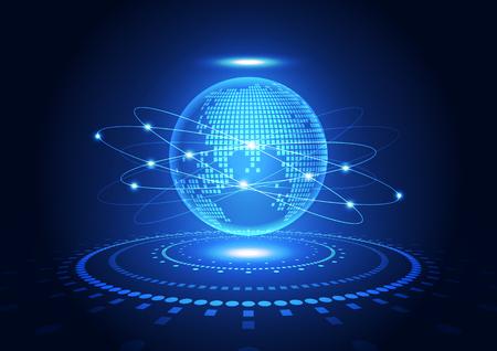 Ilustración de vector digital global technology concept, abstract background - Imagen libre de derechos