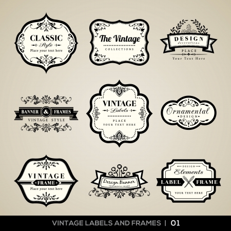 Ilustración de Vector set of calligraphic Vintage labels and frames design elements - Imagen libre de derechos