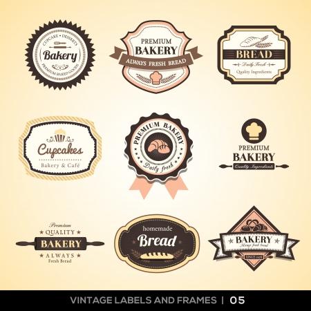 Ilustración de Vector set of Vintage bakery logo labels and frames design - Imagen libre de derechos