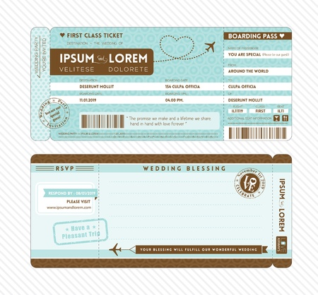 Ilustración de Boarding Pass Ticket Wedding Invitation Template - Imagen libre de derechos