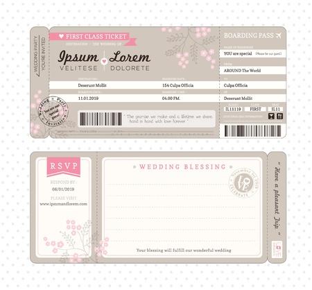 Illustration pour Boarding Pass Ticket Wedding Invitation Template - image libre de droit