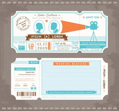Foto de  Movie Ticket Wedding Invitation Design Template - Imagen libre de derechos