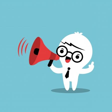 Illustration pour Business cartoon character with megaphone make an announcement - image libre de droit
