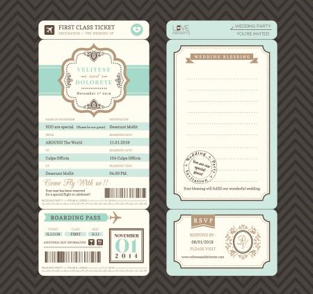 Illustration pour Vintage style Boarding Pass Ticket Wedding Invitation Template Vector - image libre de droit