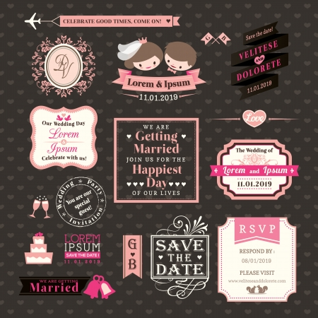 Photo pour Wedding Elements labels and frames Vintage Style - image libre de droit