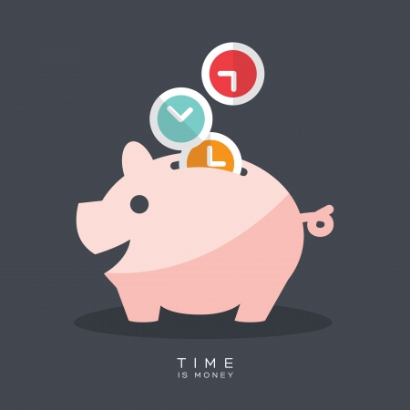 Photo for Time is Money Piggy Bank Vector Illustration - Royalty Free Image