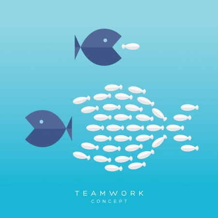 Illustration pour Teamwork Concept. Illustration with Big Fish chasing Small fish and Fish group chasing Big fish - image libre de droit