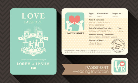 Photo pour Passport Wedding Invitation card design template - image libre de droit