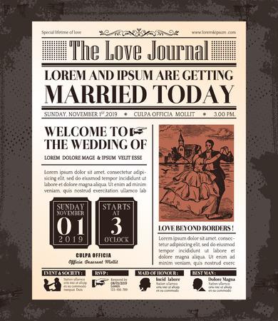 Photo pour Vintage Newspaper Journal Wedding Invitation Vector Design Template - image libre de droit