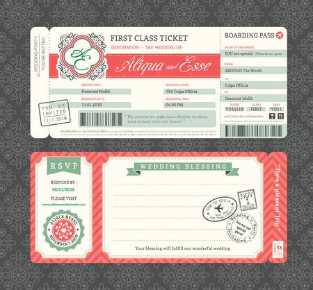 Illustration pour Vintage Boarding Pass Ticket Wedding Invitation Template - image libre de droit