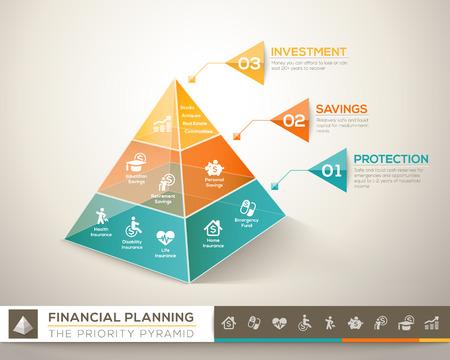 Illustration pour Financial planning pyramid infographic chart design element - image libre de droit