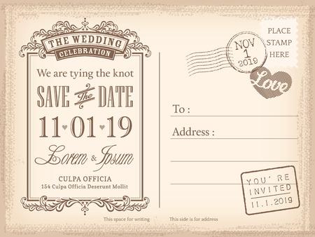 Illustration pour Vintage postcard save the date background for wedding invitation - image libre de droit