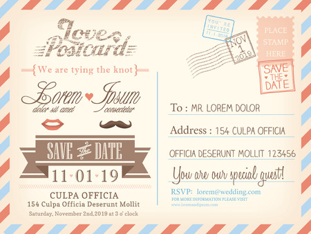 Illustration pour Vintage airmail postcard background template for wedding invitation card - image libre de droit