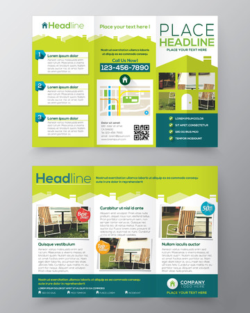 Ilustración de Real Estate Brochure Flyer design vector template in A4 size Tri fold  - Imagen libre de derechos