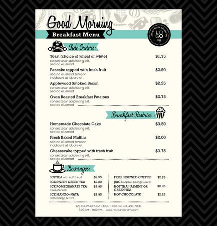 Ilustración de Restaurant Breakfast menu design Template layout - Imagen libre de derechos
