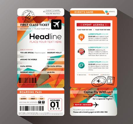 Ilustración de Modern design Boarding Pass Ticket Event Invitation card vector Template - Imagen libre de derechos