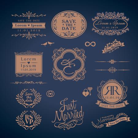 Illustration pour Vintage Style Wedding Monogram symbol border and frames - image libre de droit