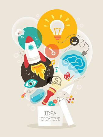 Illustration pour Creative idea think out of the box vector Illustration - image libre de droit