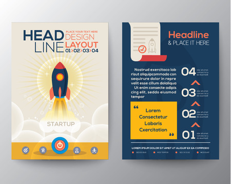 Illustration pour Brochure Flyer design Layout vector template in A4 size with start up business concept rocket launch illustration - image libre de droit