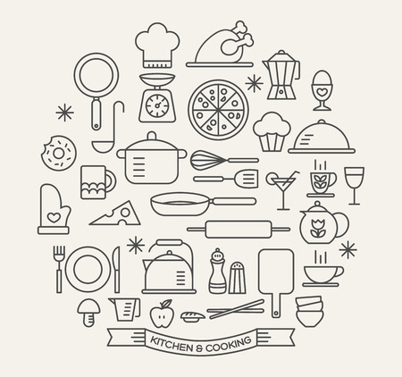 Illustration pour Cooking Foods and Kitchen outline icons set - image libre de droit