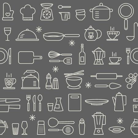 Illustration pour Seamless background pattern of Cooking Kitchen utensil icons set - image libre de droit
