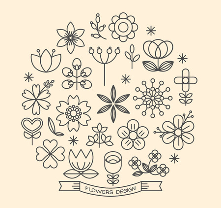Ilustración de Flower icons with outline style vector design elements - Imagen libre de derechos