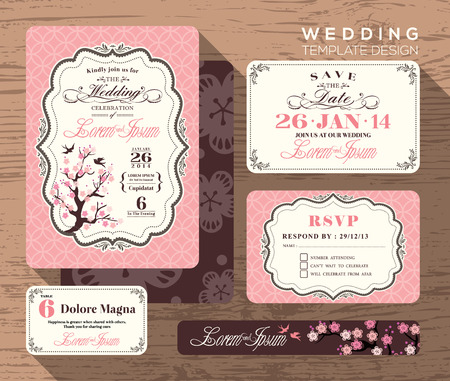 Illustration for Vintage wedding invitation set design Template Vector place card response card save the date card - Royalty Free Image