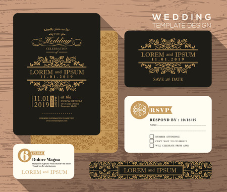 Illustration for Vintage classic wedding invitation set design Template Vector place card response card save the date card - Royalty Free Image