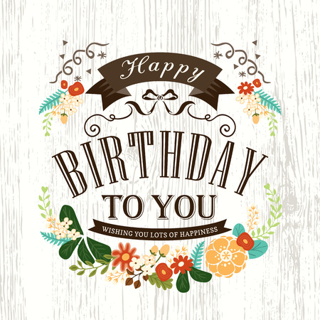 Illustration pour Cute Happy birthday card design with flowers ribbon banner and frame - image libre de droit