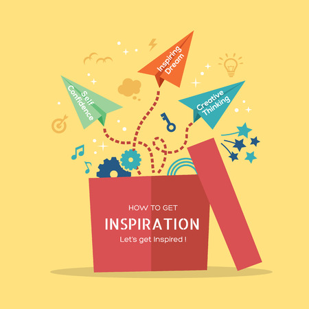 Illustration pour Inspiration concept vector Illustration with paper plane flying out of the box - image libre de droit