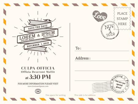 Illustration pour Vintage postcard background vector template for wedding invitation - image libre de droit