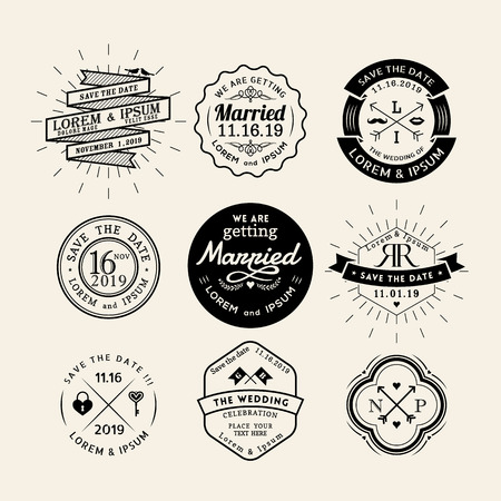 Illustration for Vintage retro wedding icon frame badge vector design element - Royalty Free Image