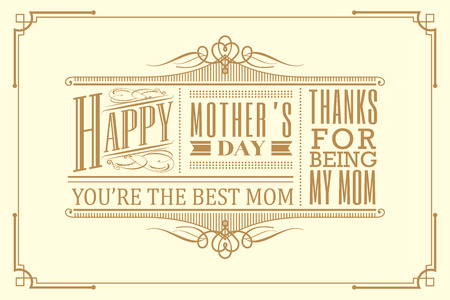 Illustration for happy mothers day typography frame design vintage retro art deco style - Royalty Free Image