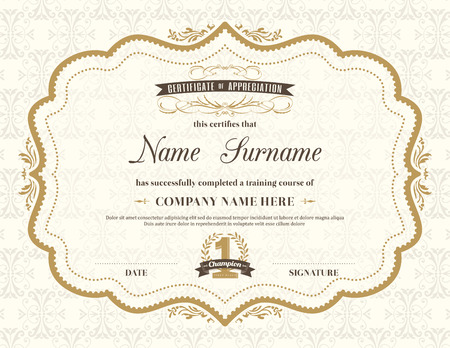 Illustration pour Vintage retro frame certificate background design template - image libre de droit