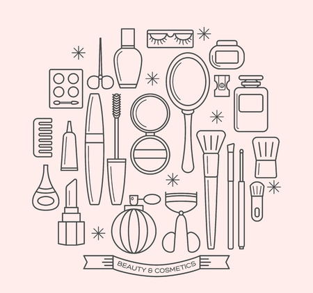 Illustration pour beauty and cosmetics thin line outline vector icons set - image libre de droit